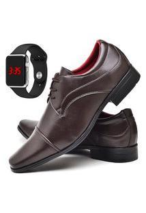 Sapato Social Fashion Com Relógio Led Silver Dubuy 832El Marrom