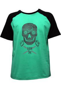 Camiseta Alkary Raglan Manga Curta Bmx Caveira Verde E Preta