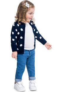 Casaco Infantil Poá Menina Kyly Azul
