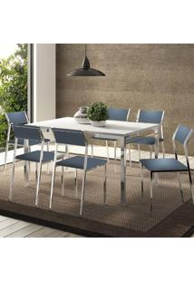 Mesa 1526 Branca Cromada Com 6 Cadeiras 1709 Azul Noturno Carraro