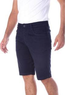 Bermuda Sarja 5 Bolsos Slim Com Elastano Traymon Masculina - Masculino-Marinho