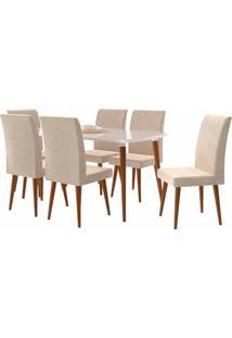 Conjunto Mesa De Jantar Jade C/ 6 Cadeiras 1,70X0,90 Pã©S Palito White Rv Móveis
