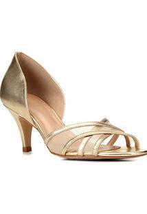 Peep Toe Couro Shoestock Tela Salto Médio - Feminino-Ouro