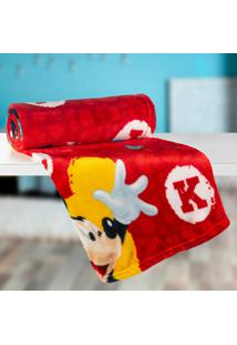 Manta Infantil Mickey (125X150) Poliéster Vermelha