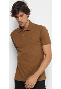Camisa Polo Lacoste Piquet Original Masculina - Masculino-Cáqui 0b2a49d33e6c0