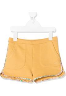 Bonpoint Short Amarelo Com Acabamento Floral