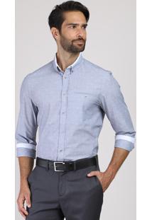 Camisa Masculina Comfort Estampada Mini Print Com Bolso Manga Longa Azul