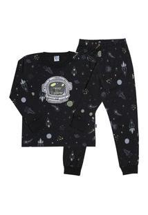 Pijama Meia Malha - 46582-263 - (4 A 10 Anos) Pijama Rotativo Preto - Infantil Menino Meia Malha Ref:46582-263-10