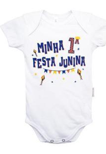 Body Manga Curta Bebê Nigambi Minha 1ª Festa Junina Masculino - Masculino