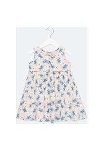Vestido Infantil Estampa Floral Com Recortes Maria Em Viscose - Tam 1 A 5 Anos | Póim (1 A 5 Anos) | Rosa | 01