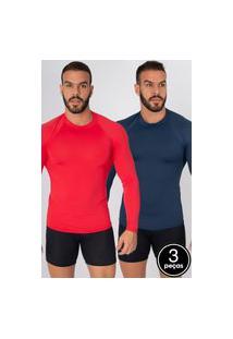 Kit 3 Camisas Bella Fiore Modas Térmica Poliamida Uv Segunda Pele Cores Variadas