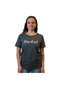 Camiseta Feminina Edu Ribeiro Lettering Dias De Sol - Cinza Escura E Amarela Multicolorido