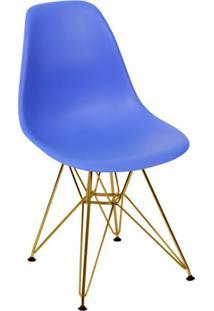 Cadeira Eames Eiffel Com Base Metal Azul Escuro