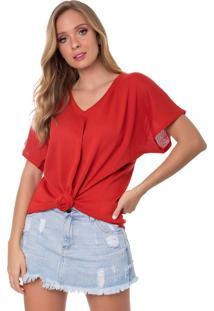 Camiseta Myah Flávia Vermelho Nó Tricô