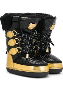 Moschino Kids Lace-Up Snow Boots - Preto
