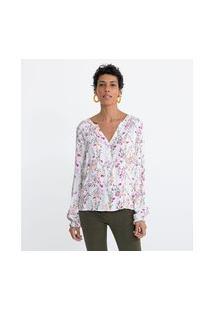 Camisa Manga Longa Em Viscose Estampa Floral Lastex No Ombro E No Punho | Marfinno | Branco | M