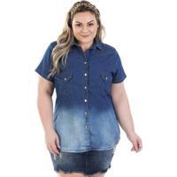 b4f99444c Camisa Jeans Vinil Com Bolso E Elastano Feminina - Feminino-Azul