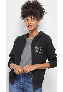 Jaqueta Moletom Lily Fashion Textura Coração Capuz Feminino - Feminino-Preto
