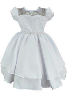 Vestido De Festa Infantil Giovanella Branco Com Strass Batizado Daminha Luxo