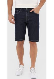 Bermuda Jeans Colcci Reta Pespontos Azul