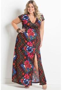 Vestido Longo Floral Escuro Plus Size Marguerite
