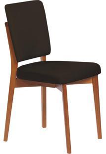 Cadeira Estofada Tramontina 14200/135 Berlim Madeira Amêndoa/Preto