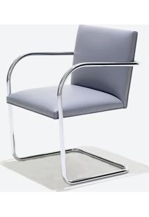 Cadeira Mr245 Cromada Linho Impermeabilizado Azul - Wk-Ast-34