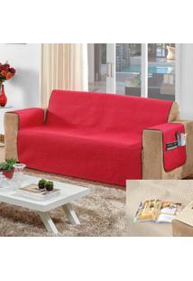 Conjunto De 2 Protetores De Sofá Com 2 E 3 Lugares Com Porta Controle Vermelho