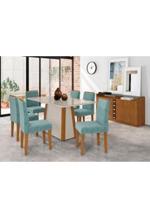Conjunto De Mesa De Jantar Com Tampo De Vidro Júlia E 6 Cadeiras Ana Animalle Off White E Azul