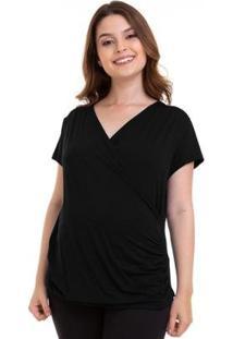 Camiseta Gestante E Amamentação Verão Luna Cuore Feminina - Feminino-Preto
