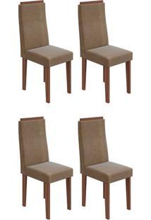 Conjunto Com 4 Cadeiras Dafne L Imbuia E Marrom