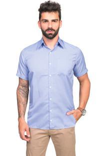 Camisa Manga Curta Slim Tony Menswear Listrada Com Bolso Azul Claro