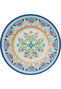Prato De Sobremesa Tunisia Em Porcelana- Branco & Azul