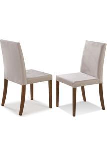 Cadeira De Jantar Luna Ref 2130 (Kit Com 2 Peças) - Castanho Claro - Tec Bege Claro