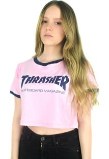 Camiseta Crop Thrasher Magazine Skate Mag Rosa