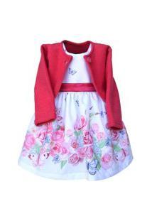Vestido Infantil Com Bolero Marie Jardim Encantado Pink