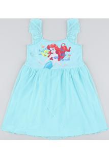Camisola Infantil Pequena Sereia Ariel Com Tule Sem Manga Verde Água