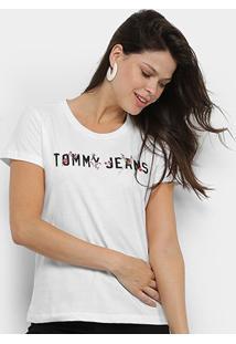 Camiseta Tommy Jeans Flores Feminina - Feminino