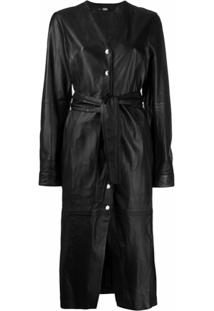 Karl Lagerfeld Vestido Midi De Couro - Preto