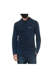 Blusa Calvin Klein Masculina Hooded Pocket Stoned Blue Azul Índigo