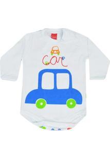 Body Infantil Get Baby Carro Masculino - Masculino-Branco