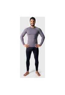 Camisa Térmica Adulto Masculina Segunda Pele Praia Surf Proteçáo Uv Esportiva 4 Estações Cinza