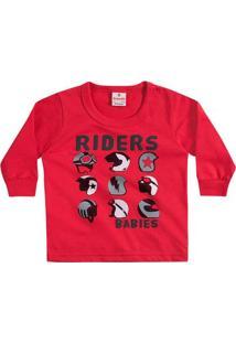 4deb1c34d6e7d Camiseta Bebê Manga Longa Riders Vermelha Brandili Cor  Vermelho - Tam.  M