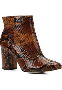 e1d1723a3d Bota Couro Cano Curto Shoestock Snake Feminina - Feminino-Caramelo