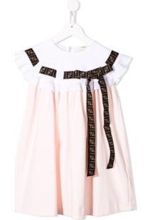 Fendi Kids Vestido Com Acabamento De Babados - Rosa