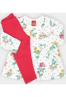 Conjunto Infantil Kyly Blusa Estampada + Calça Moletom Feminino - Feminino-Off White+Rosa