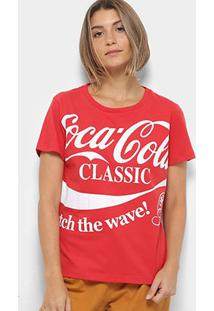 Camiseta Coca-Cola Logo Com Aroma Feminina - Feminino-Vermelho