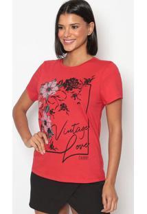 "Camiseta ""Vintage Love""- Vermelha & Preta- Charrycharry"