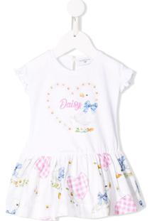 Monnalisa Vestido Com Estampa Daisy - Branco