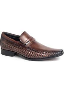 Sapato Social Rafarillo Masculino Couro Liso Bico Quadrado - Masculino-Amadeirado